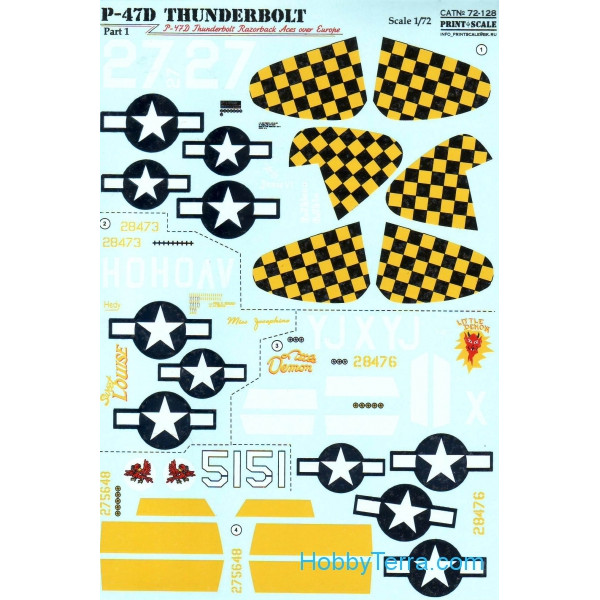 Decal 1/72 for P-47D Thunderbolt Razorback Aces over Europe, Part1
