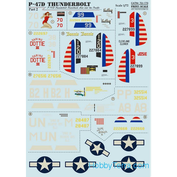 Decal for Thunderbolt P-47D Razorback Aces