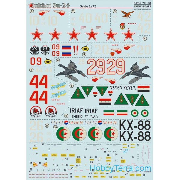Decal 1/72 for Sukhoi Su-24 bomber