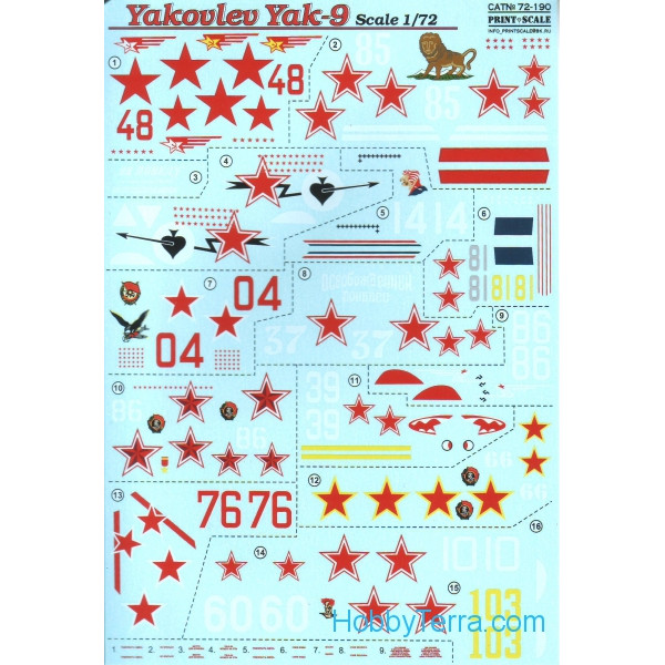 Decal 1/72 for Yakovlev Yak-9, Part 2