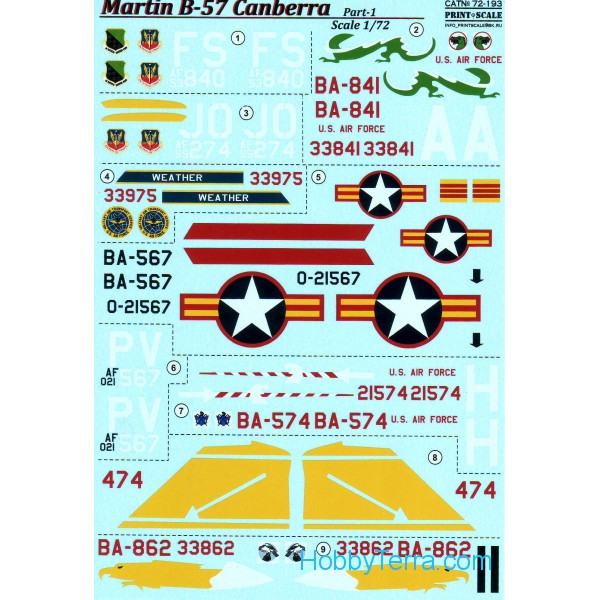 Decal 1/72 for B-57 Canberra, Part 1