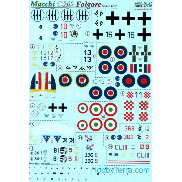 Decal 1/72 for Macchi C.202 Folgore