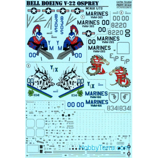 Decal 1/72 for Bell Boeing V-22 Osprey