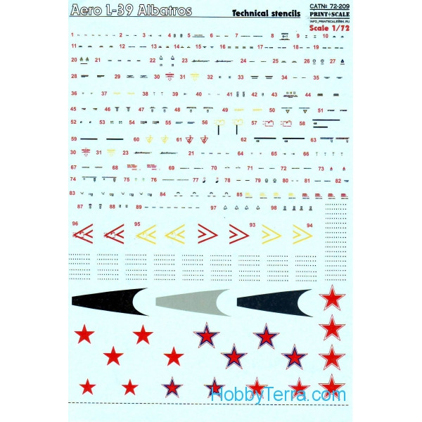 Print Scale  72-209 Decal 1/72 for Aero L-39 Albatros technical ctencils
