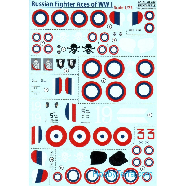 Decal 1/72 for Russian Fighter Aces of WWl