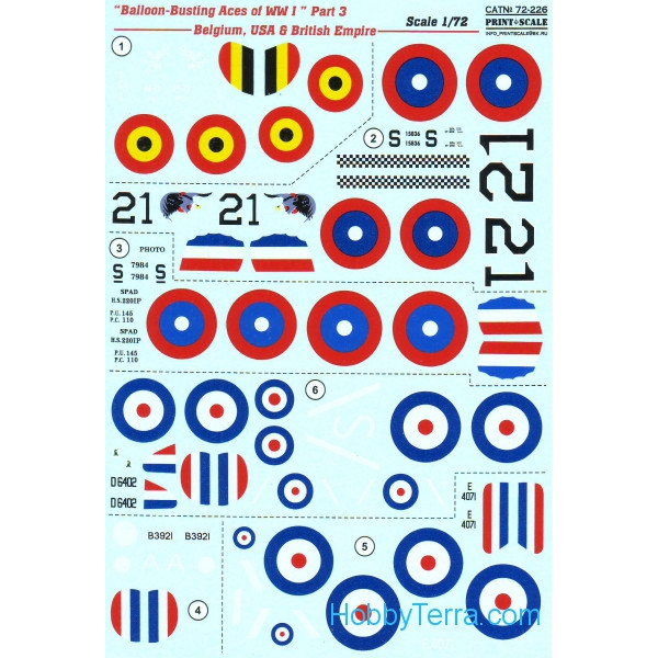 Decal 1/72 for Balloon-Busting Aces of WWI, Part 3 - Belgium, USA & British Empire