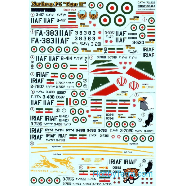 Decal 1/72 for Northrop F-5 Tiger II