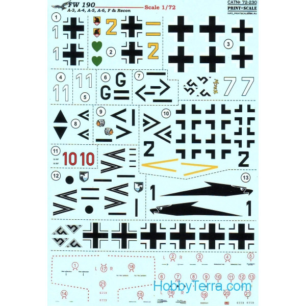Decal 1/72 for FW 190 A-3, A-4, A-5, A-6, F & Recon