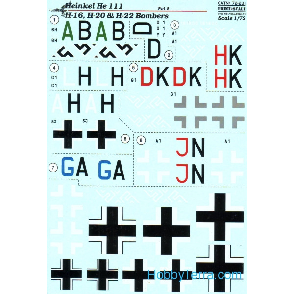Decal 1/72 for He 111 H-16, H-20 & H-22 bombers