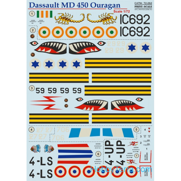 "Decal 1/72 for Dassault MD 450 ""Ouragan"""