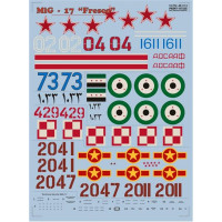 "Decal 1/48 for Mig-17 ""Fresco"""