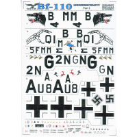 Decal for jet fighter Messerschmitt Me-110 Part 1