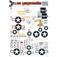 Decal 1/48 for jet fighter P-38 Lightning, Part 2