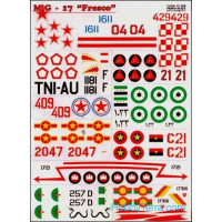 "Decal 1/72 for Mig-17 ""Fresco"""