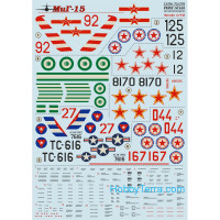 "Decal 1/72 for Mig-15 ""Fagot"" fighter"