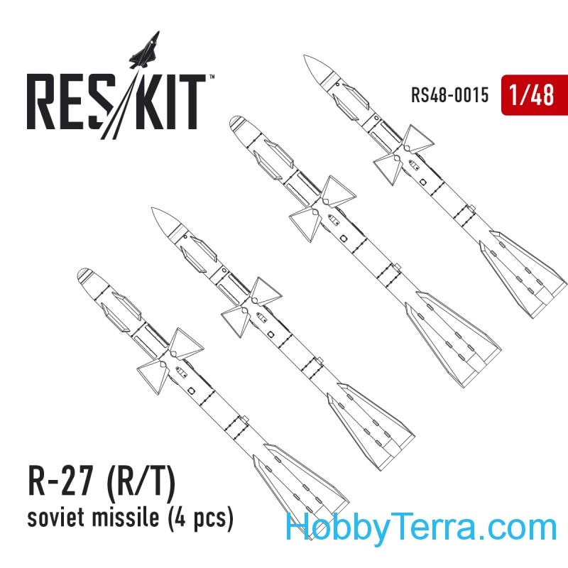 Soviet Missile R-27 P/T (4 pcs), for Eduard/HobbyBoss kit