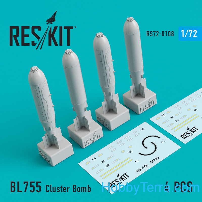 RESKIT  72-0108 BL755 Cluster Bomb (4 pcs) for (Jaguar, Harrier, Phantom, MiG-27)