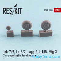 Wheels set 1/48 for Yak-7/9, La-5/7, Lagg-3, I-185, Mig-3 (for ground airfields)