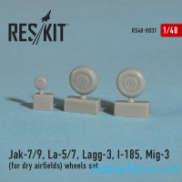 Wheels set 1/48 for Yak-7/9, La-5/7, Lagg-3, I-185, Mig-3 (for dry airfields)