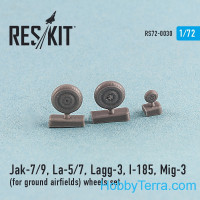 Wheels set 1/72 for Yak-7/9, La-5/7, Lagg-3, I-185, Mig-3 (for ground airfields)
