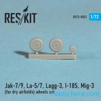 Wheels set 1/72 for Yak-7/9, La-5/7, Lagg-3, I-185, Mig-3 (for dry airfields)