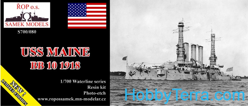 ROP o.s. Samek Models  S700-080 USS Maine BB-10 battleship, 1918 (resin kit)