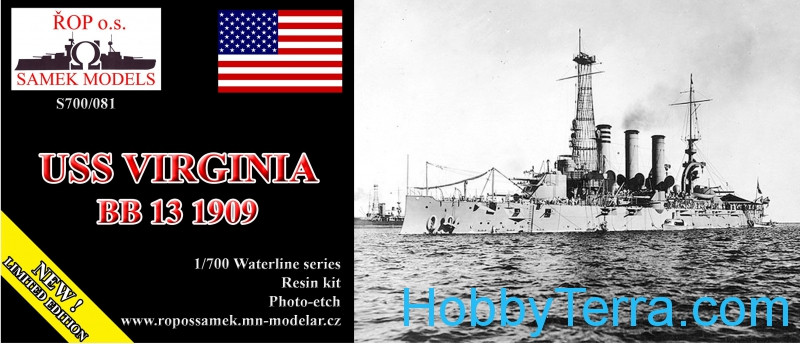 USS Virginia BB-13 battleship, 1909 (resin kit)