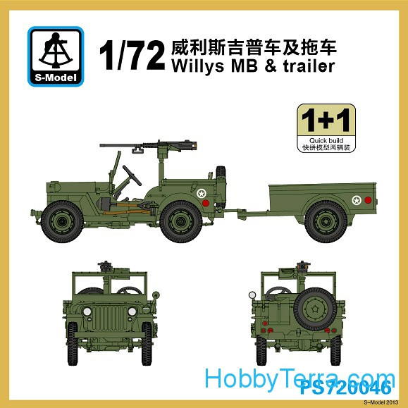 S-model  PS720046 Willys MB with trailer (2 model kits in the box)
