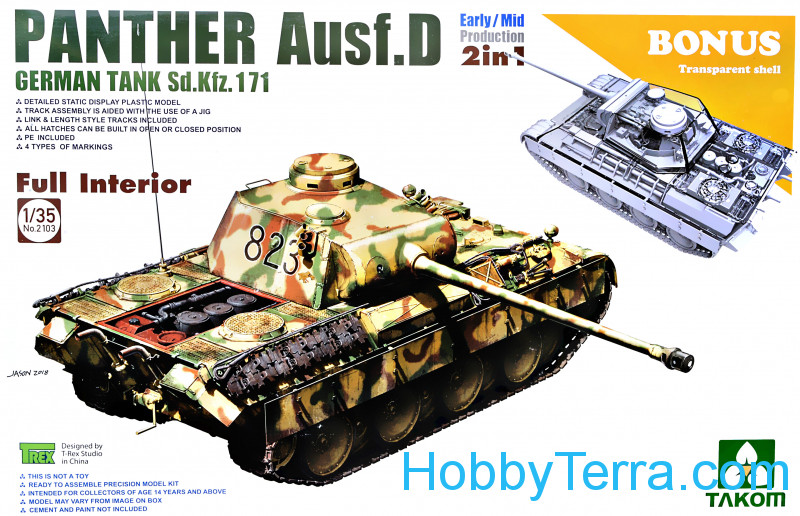 Takom  2103 WWII German medium Tank  Sd.Kfz.171 Panther  Ausf.D Early/Mid production w/full interior