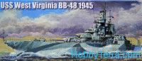 USS West Virginia BB-48 battleship, 1945