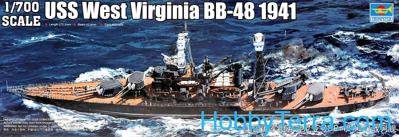 Trumpeter  05771 USS West Virginia BB-48 battleship, 1941