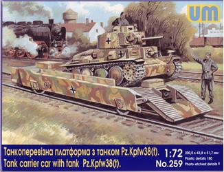 Tank carrier car with Pz.Kpfw 38(t) tank