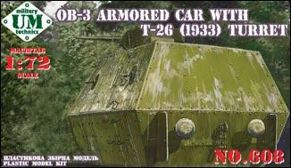 UMmt  608 OB-3 armored railway car with T-26 turret