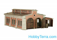 Locomotive shed, paper model