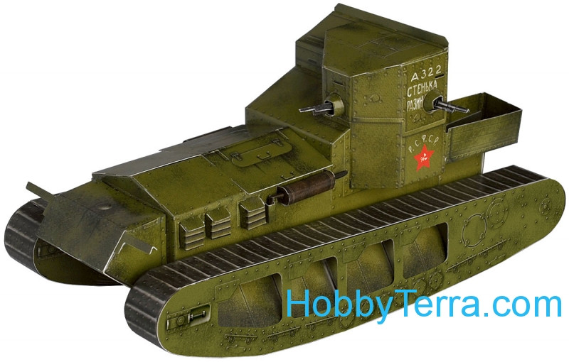 "Umbum  252-02 Tank Mk.A ""Whippet"" 1917-1918 (RKKA) paper model (Snap fit)"