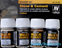 Pigments Set. Stone & Cement, 4pcs
