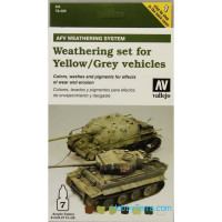 Weathering set for yellow/grey vehicles, 7x8ml
