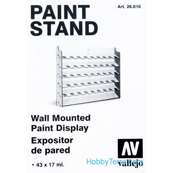 Vallejo  26010 Paint stand. Wall Mounted Paint Display, 43x17ml
