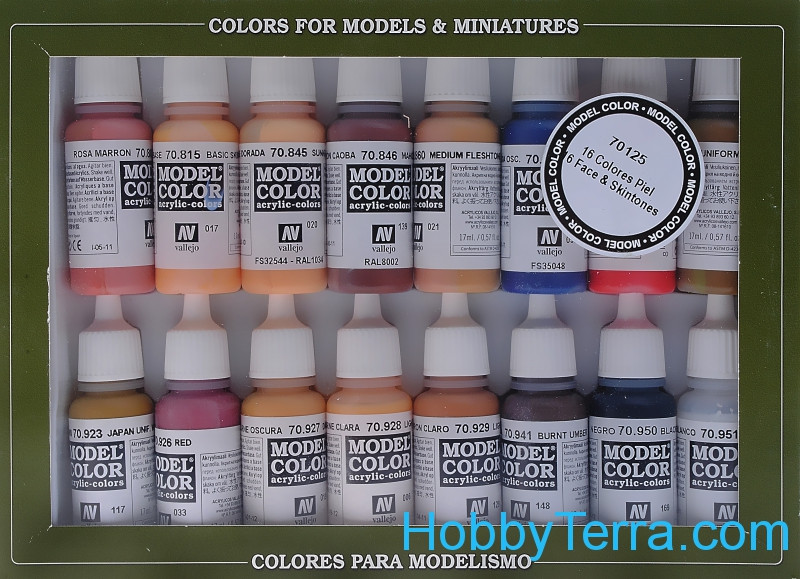 "Model Color Set ""Face/Skin Colors"", 16pcs"