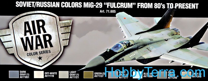 "Vallejo  71605 Paint Set. Air Soviet/Russian colors MiG-29 ""Fulcrum"" from 80's to present, 8pcs"