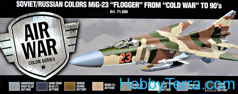 "Vallejo  71606 Paint Set. Air Soviet/Russian colors MiG-23 ""Flogger"" from 70's to 90's, 8pcs"