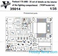 Photo-etched set 1/35 Panhard 178AMD-35 interior of fighting compartment, for ICM kit