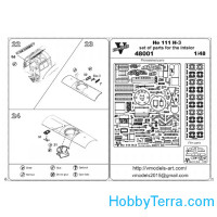 Photo-etched set 1/48 He 111 H-3 interior set, for ICM kit