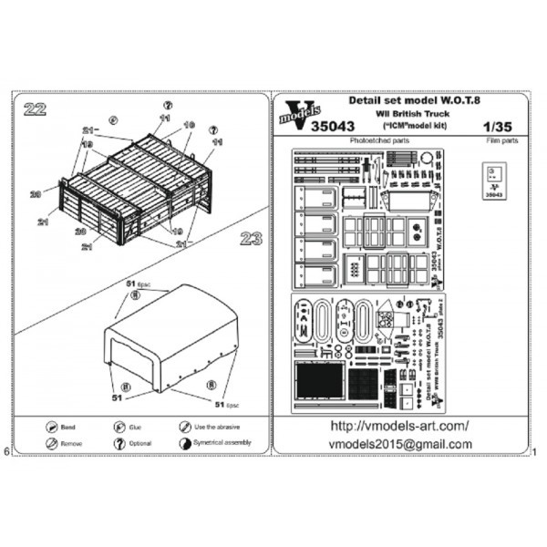 Vmodels  35043 Photo-etched set 1/35 for W.O.T. 8 WWII British Truck, for ICM kit