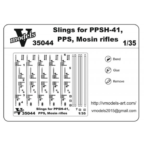 Vmodels  35044 Photo-etched set 1/35 Slings for PPSH 41, PPS , Mosin rifles