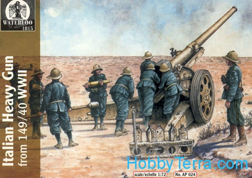 WWII Italian heavy 149/40 gun with crew