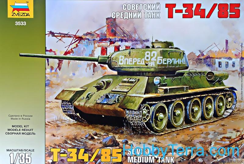 T-34/85 Soviet medium tank Zvezda 3533 HobbyTerra.com