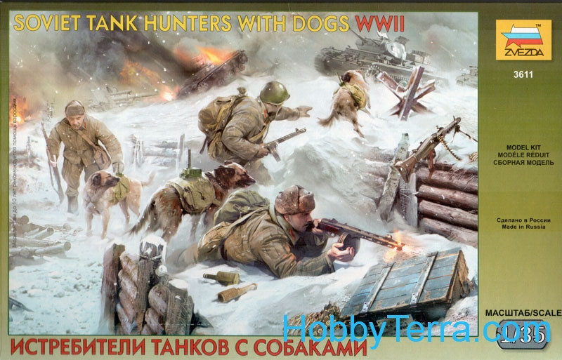 Soviet tank hunters with dogs
