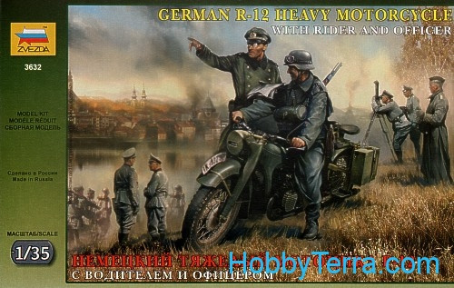 R-12 German heavy motorcycle with rider and officer