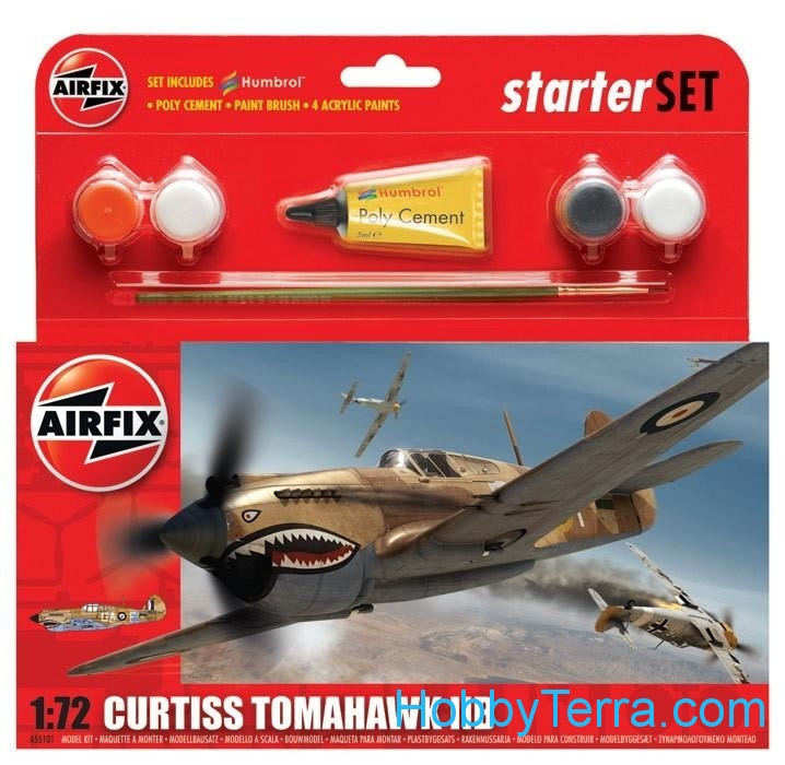 Airfix  55101 Starter Set. Curtiss P40B Warhawk
